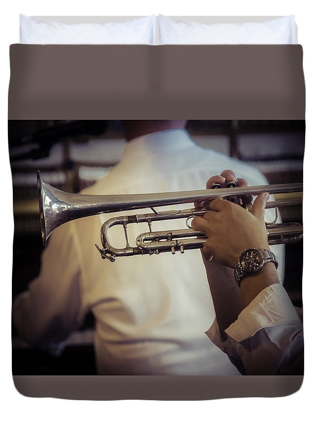 Jazz Duvet Cover featuring the photograph Jazz Trumpet New Orleans by Garry Gay