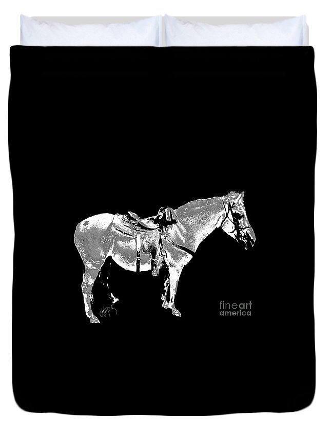 Horses Duvet Cover featuring the digital art Jazzy Ride by Artepunk Art
