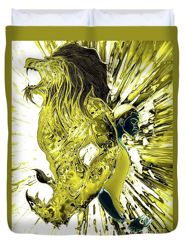 Duvet Cover featuring the drawing Jd And Leo- Inverted Gold by Javon Dixon