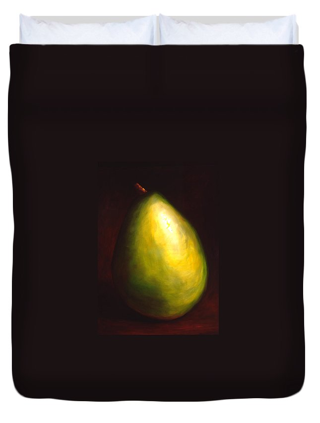 Pear Duvet Cover featuring the painting Jeana by Shannon Grissom