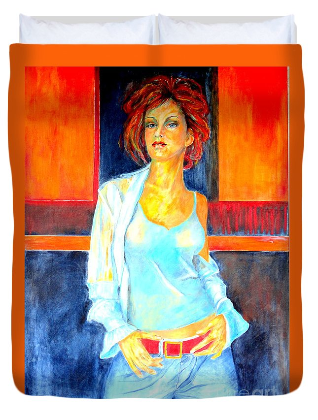 Oilpainting Duvet Cover featuring the painting Jeans by Dagmar Helbig