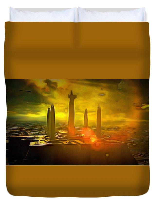 Jedi Temple Duvet Cover featuring the painting Jedi Temple - Pa by Leonardo Digenio