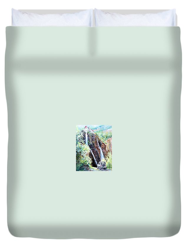 Waterfall Duvet Cover featuring the painting Jeeping At Bridal Falls by Linda Shackelford