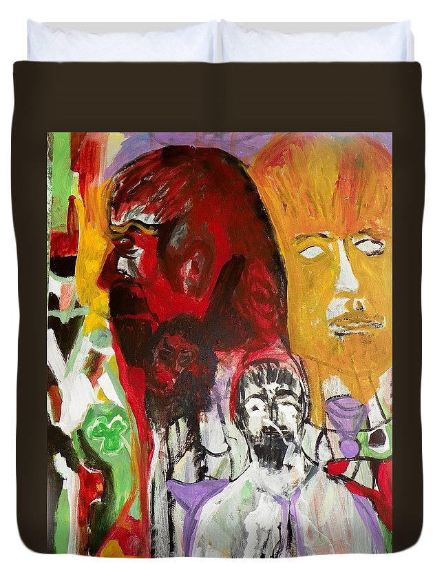 Abstract Duvet Cover featuring the painting Jeff - Past Present Future by Judith Redman