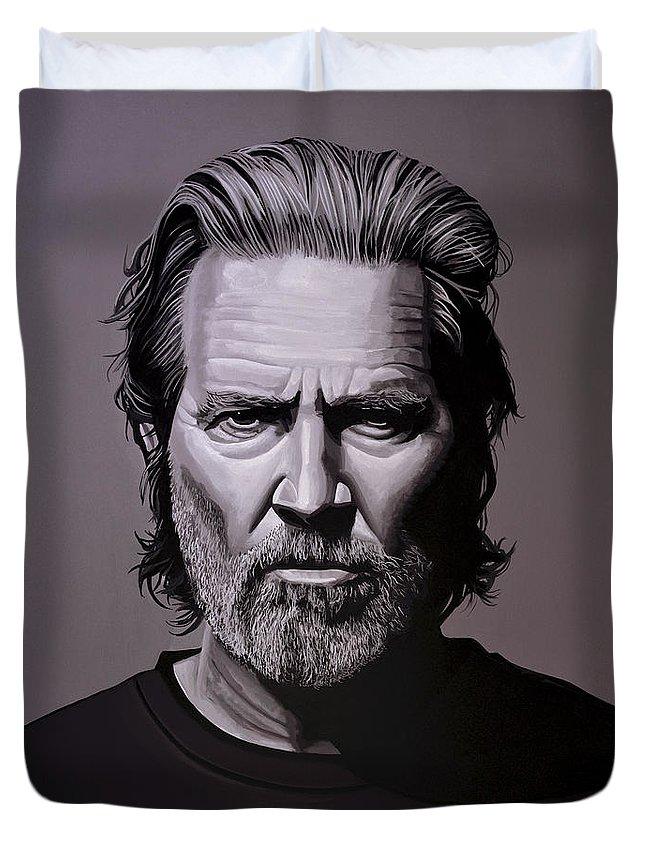 Jeff Bridges Duvet Cover featuring the painting Jeff Bridges Painting by Paul Meijering