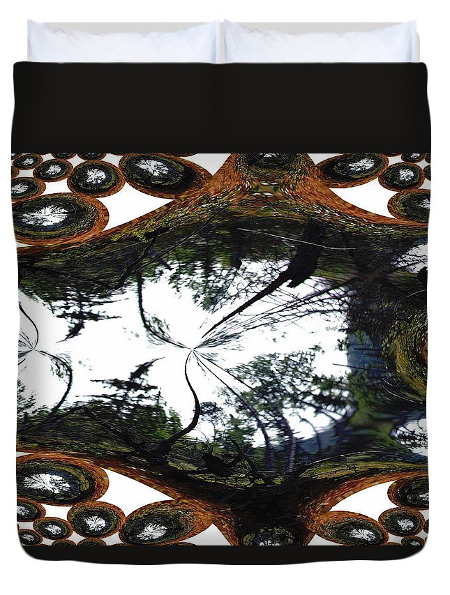 Trees Forest Life Cells Abstract Earth Sky Scenery Weird Different Green Land Duvet Cover featuring the photograph Jellin by Andrea Lawrence