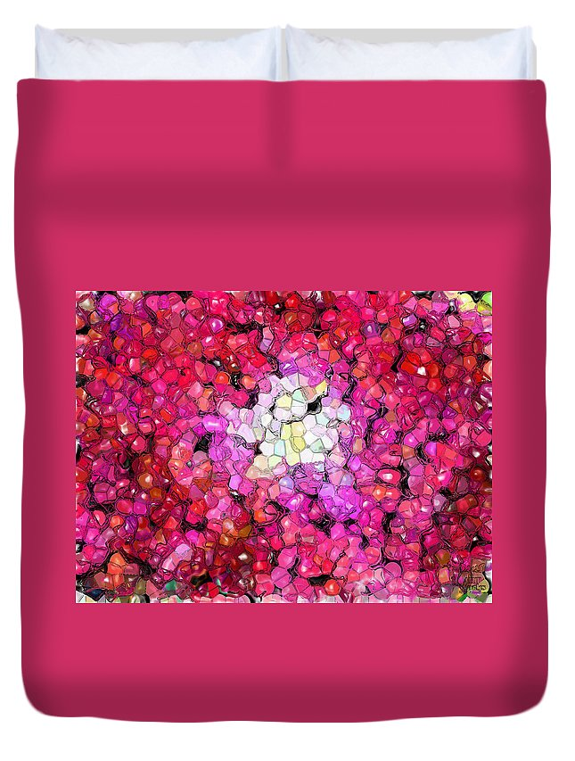 Ebsq Duvet Cover featuring the photograph Jelly Bean Rose by Dee Flouton