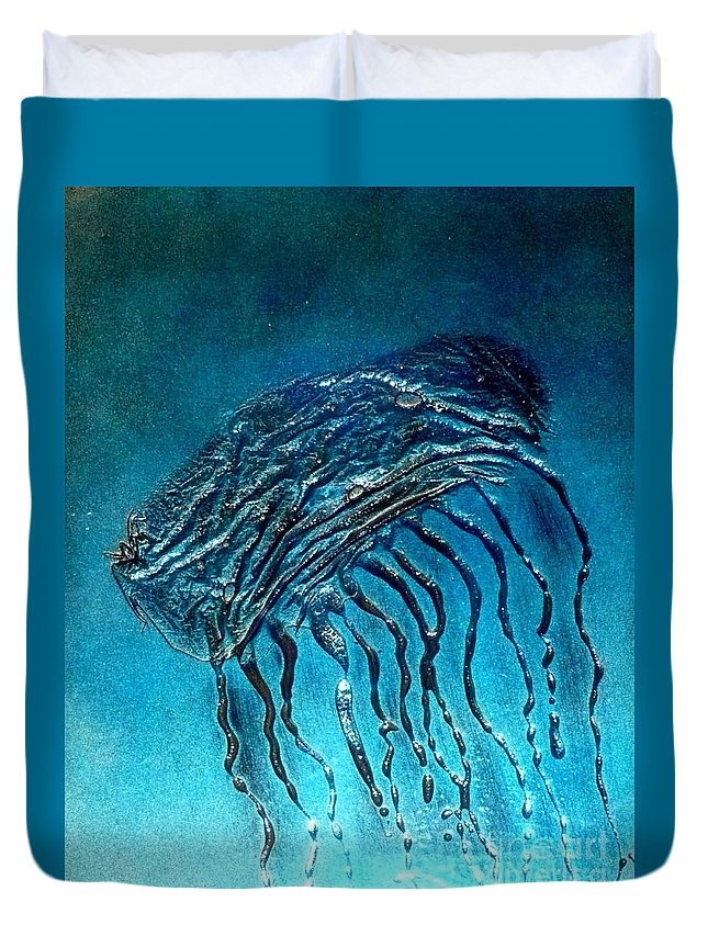 Ocean Duvet Cover featuring the painting Jelly Fish Detail by Rick Silas
