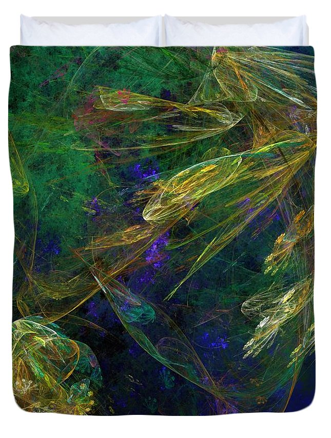 Fantasy Duvet Cover featuring the digital art Jelly Fish Diving The Reef Series 1 by David Lane