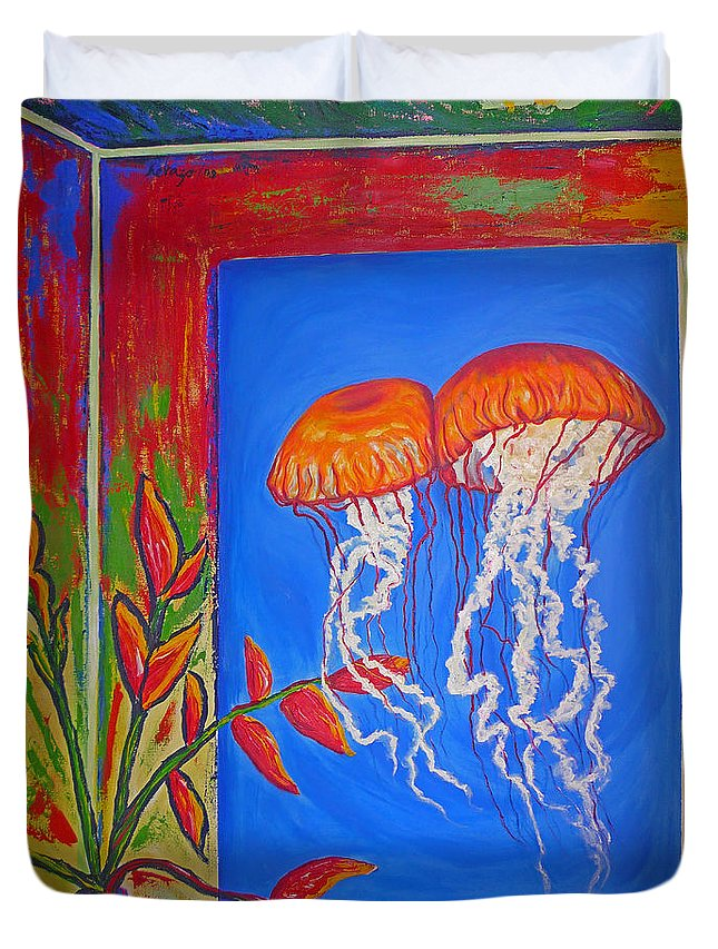 Jellyfish Duvet Cover featuring the painting Jellyfish With Flowers by Ericka Herazo