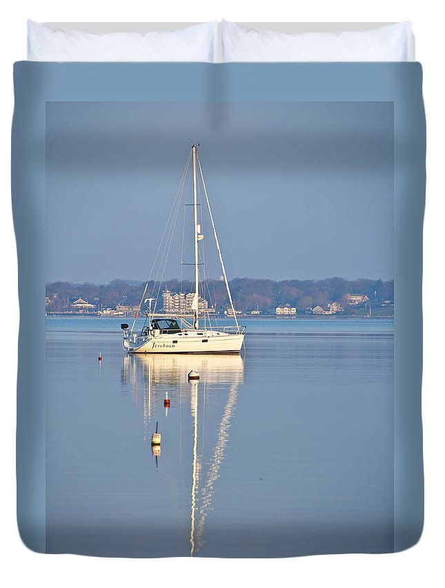 Yacht Duvet Cover featuring the photograph Jerobaum by Steven Natanson