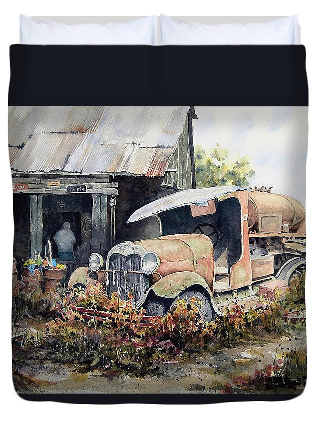 Truck Duvet Cover featuring the painting Jeromes Tank Truck by Sam Sidders