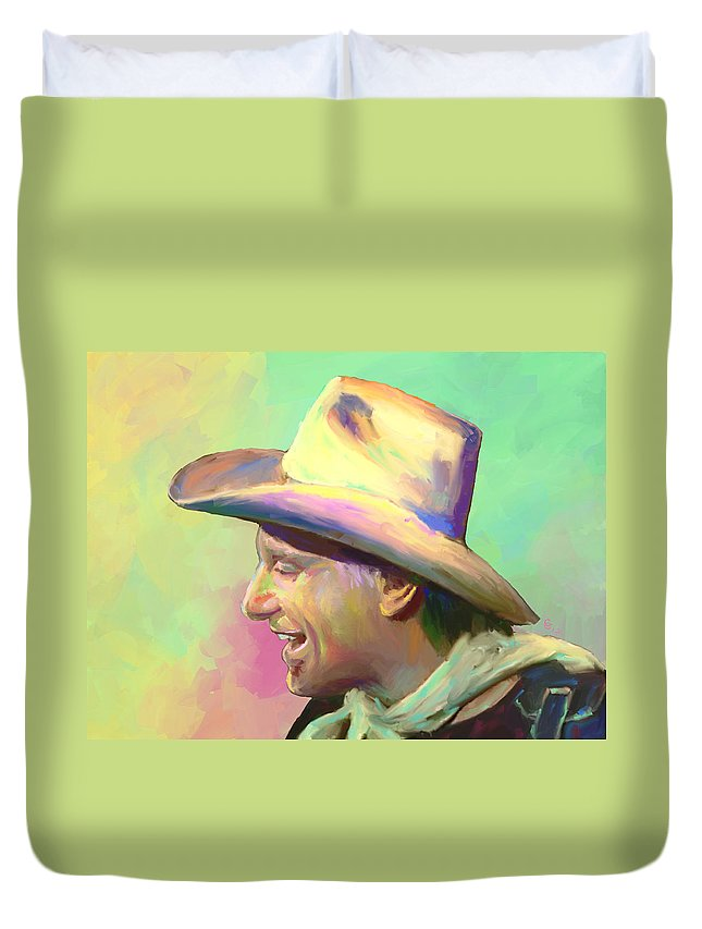 Jerry Jeff Walker Duvet Cover featuring the mixed media Jerry Jeff The Gypsy Songman by G Cannon
