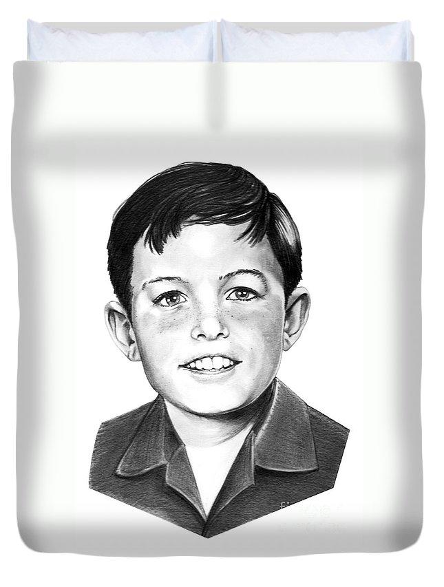 Portrait Duvet Cover featuring the drawing Jerry Mathers-as The Beaver-murphy Elliott by Murphy Elliott