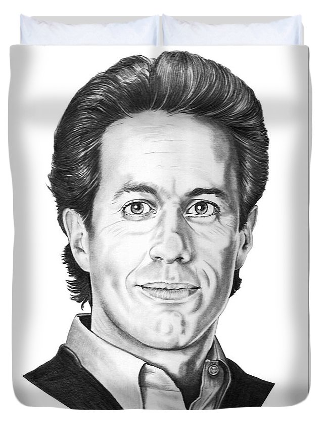 Portrait Duvet Cover featuring the drawing Jerry Seinfeld by Murphy Elliott