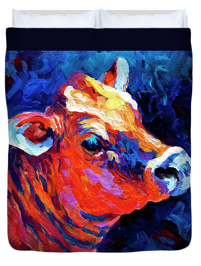 Cows Duvet Cover featuring the painting Jersey Girl by Marion Rose