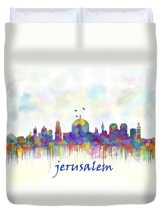 Jerusalem Duvet Cover featuring the digital art Jerusalem City Skyline Watercolor Print by Mary Alhadif