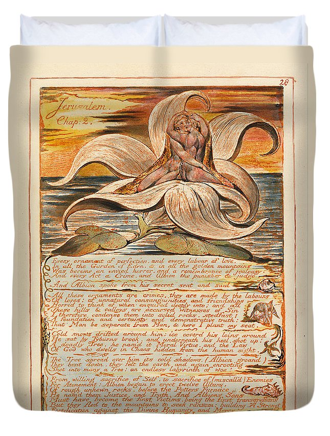 William Blake Duvet Cover featuring the drawing Jerusalem. Plate 28 by William Blake