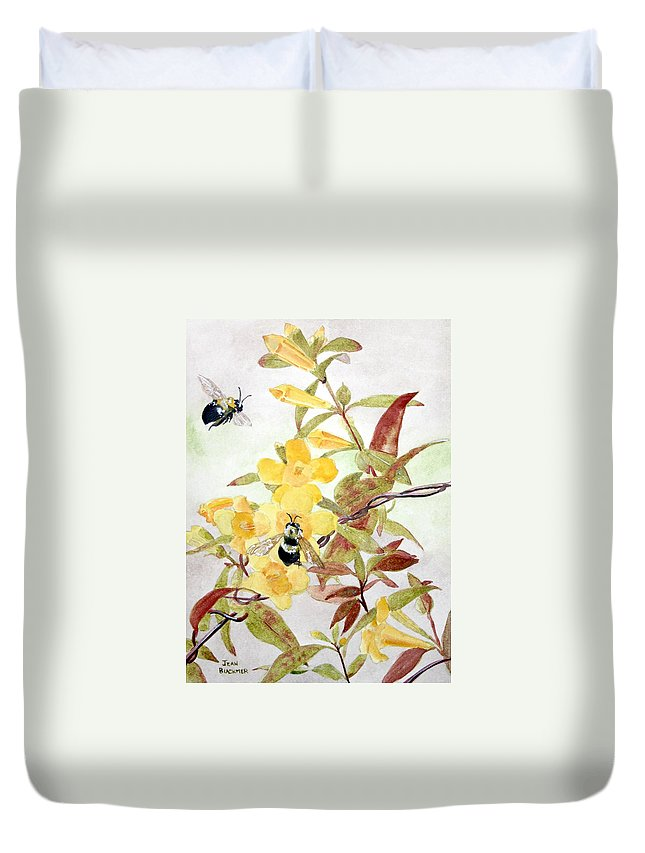 Jasmine Duvet Cover featuring the painting Jessamine Bee Mine by Jean Blackmer