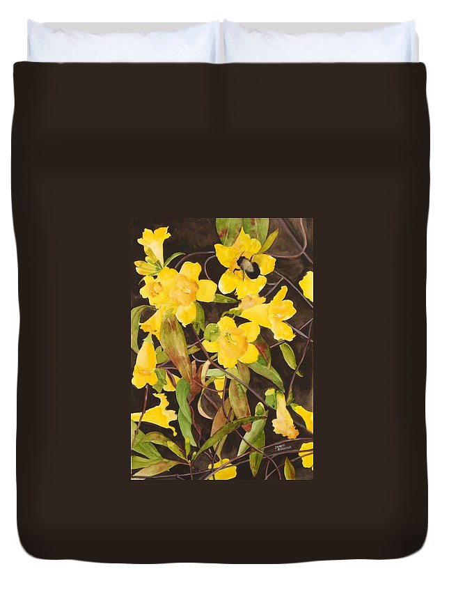 Flowers Duvet Cover featuring the painting Jessamine Jungle by Jean Blackmer