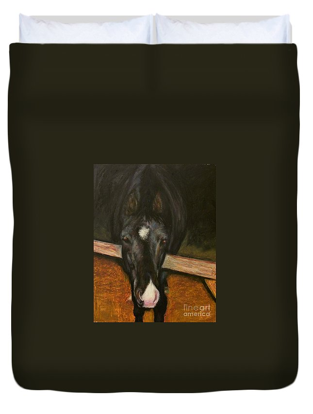Horse Duvet Cover featuring the painting Jesse by Frances Marino