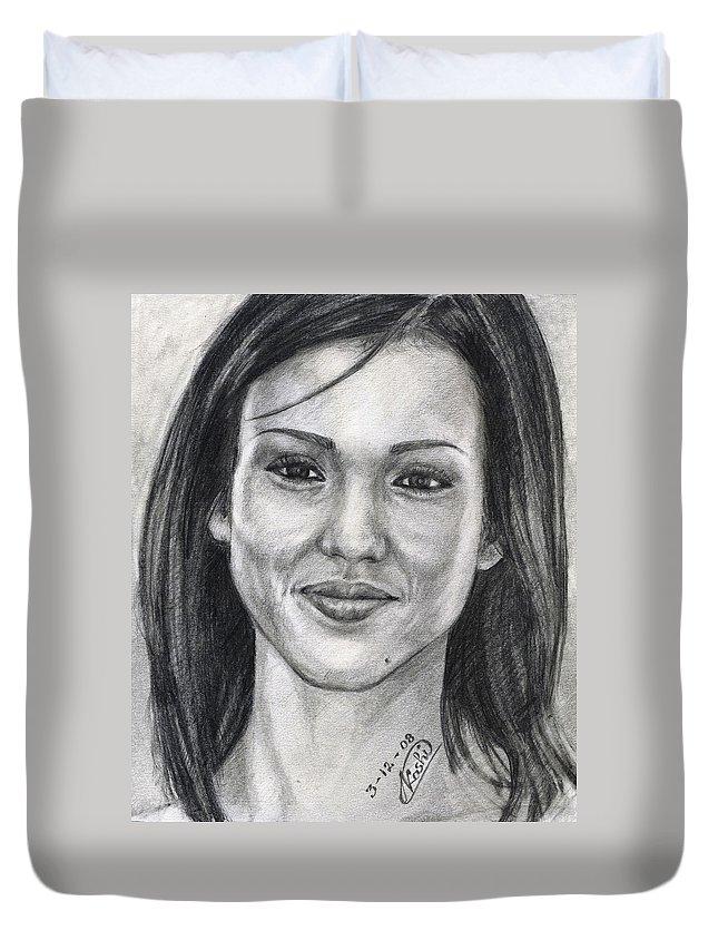 Jessica Albba Duvet Cover featuring the drawing Jessica Alba Portrait by Alban Dizdari