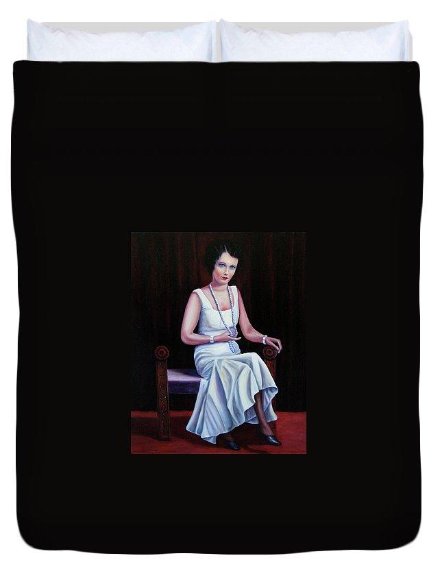 Portrait Duvet Cover featuring the painting Jessie Mckay Lane by Shannon Grissom