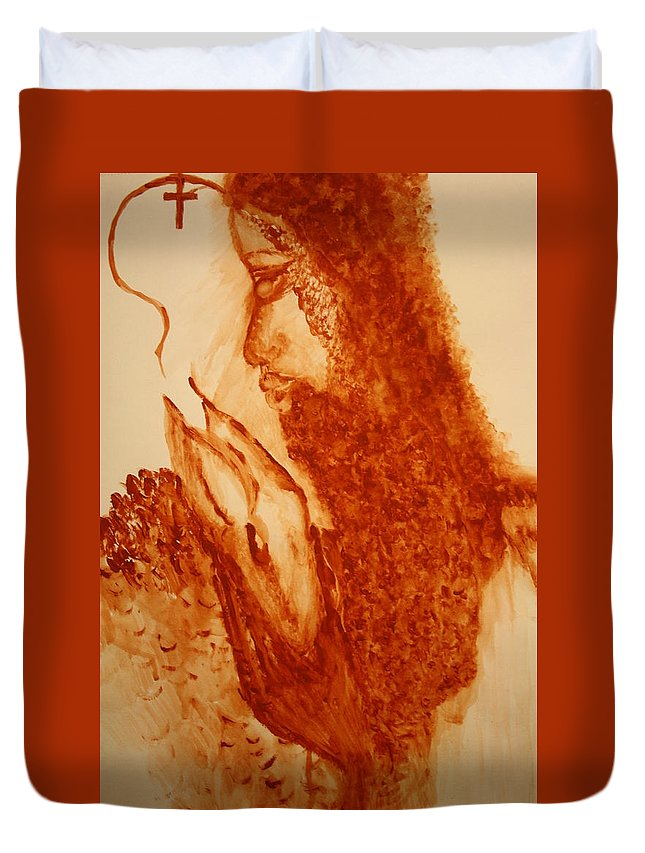 Jesus Duvet Cover featuring the painting Jesus - The Good Shepherd by Gloria Ssali