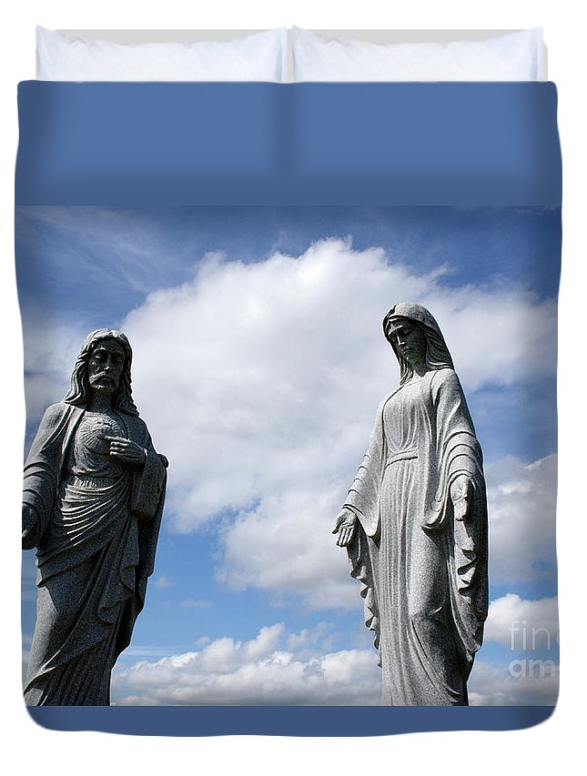 Religion Duvet Cover featuring the photograph Jesus And Mary by Bob Christopher