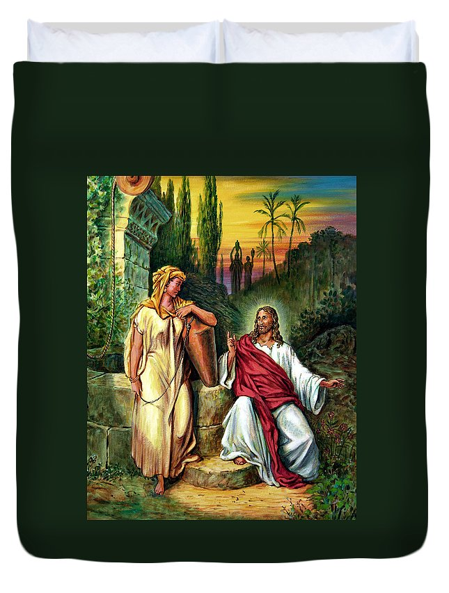 Jesus Duvet Cover featuring the painting Jesus And The Woman At The Well by John Lautermilch