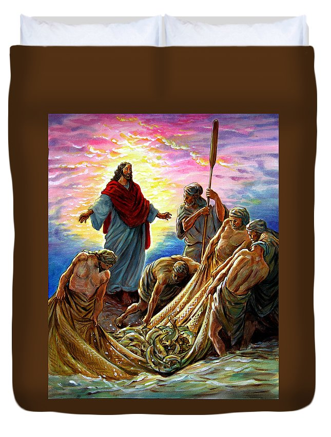 Jesus Duvet Cover featuring the painting Jesus Appears To The Fishermen by John Lautermilch