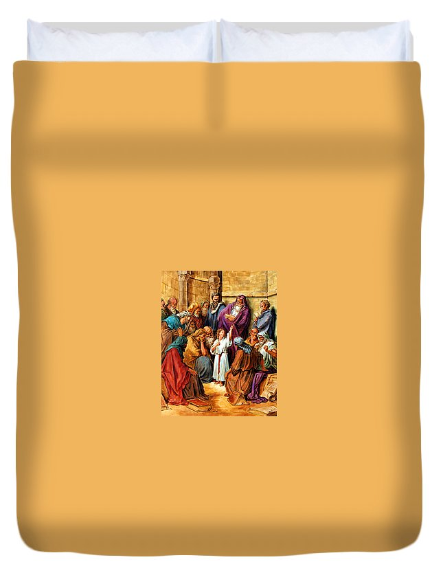 Jesus Duvet Cover featuring the painting Jesus As A Child by John Lautermilch
