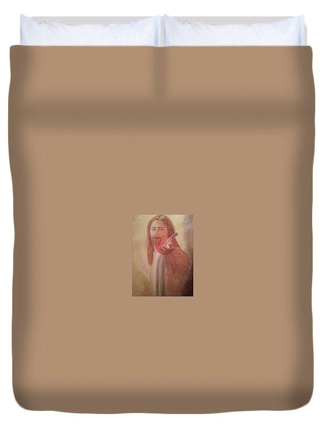 Jesus Duvet Cover featuring the painting Jesus by Bonnie Davis