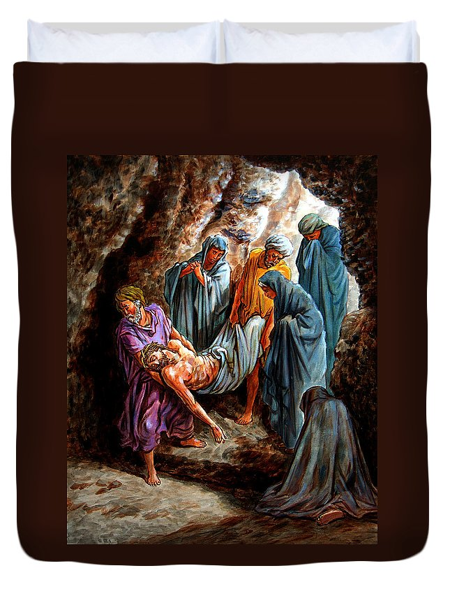 Jesus Burial Duvet Cover featuring the painting Jesus Burial by John Lautermilch