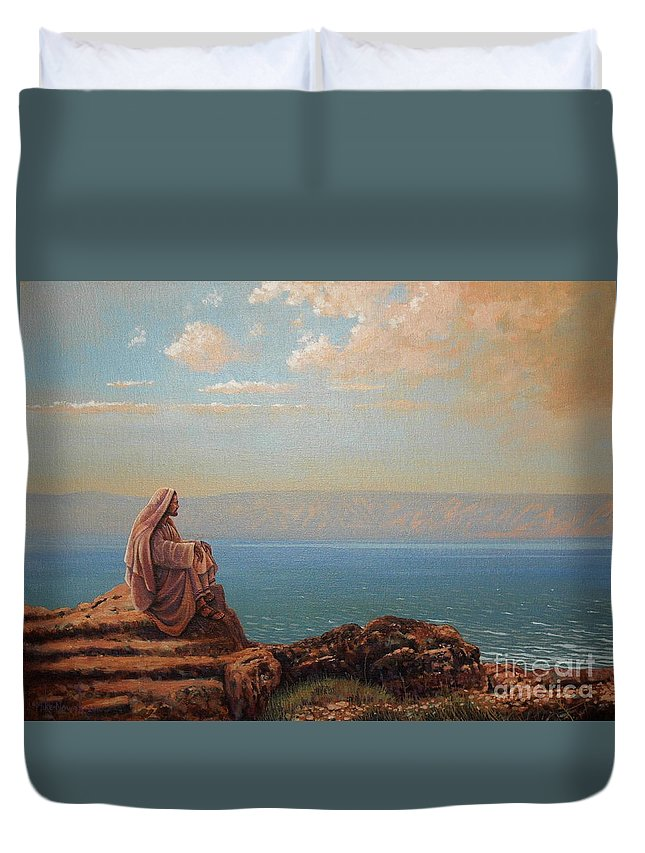 Jesus Duvet Cover featuring the painting Jesus By The Sea by Michael Nowak