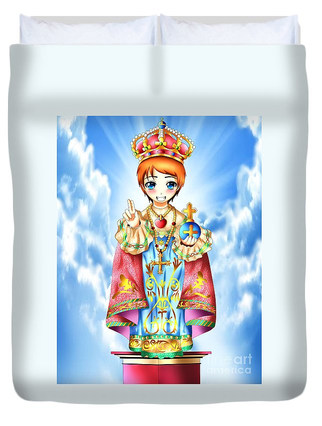 Anime Duvet Cover featuring the digital art Jesus Child by Isaac Sanchez