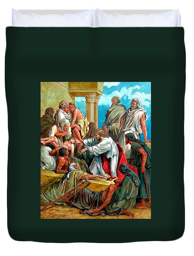 Biblical Scene Duvet Cover featuring the painting Jesus Healing The Sick by John Lautermilch