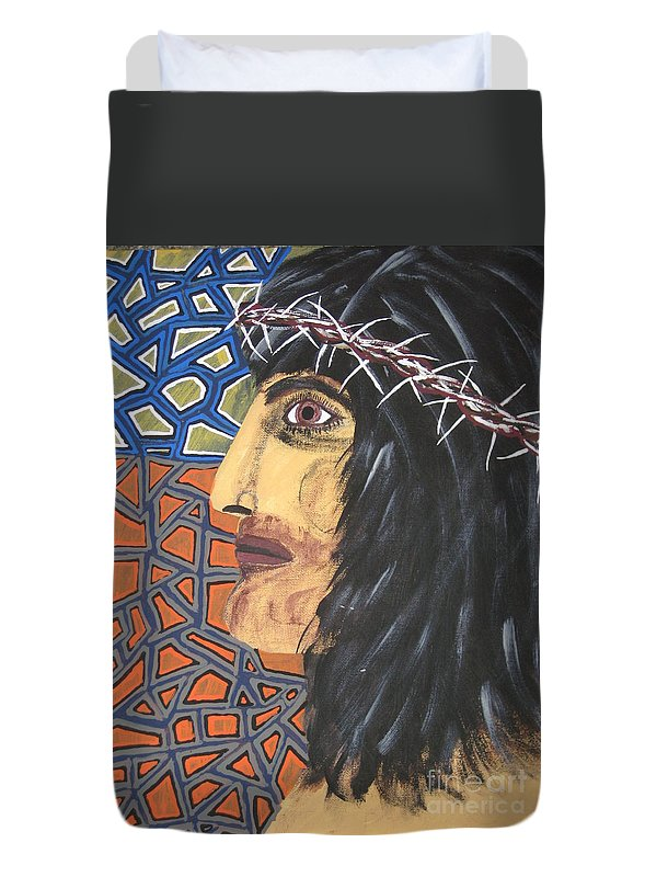 Portrait Duvet Cover featuring the painting Jesus by Jeffrey Koss