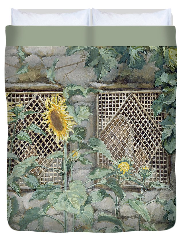 Jesus Looking Through A Lattice With Sunflowers Duvet Cover featuring the painting Jesus Looking Through A Lattice With Sunflowers by Tissot