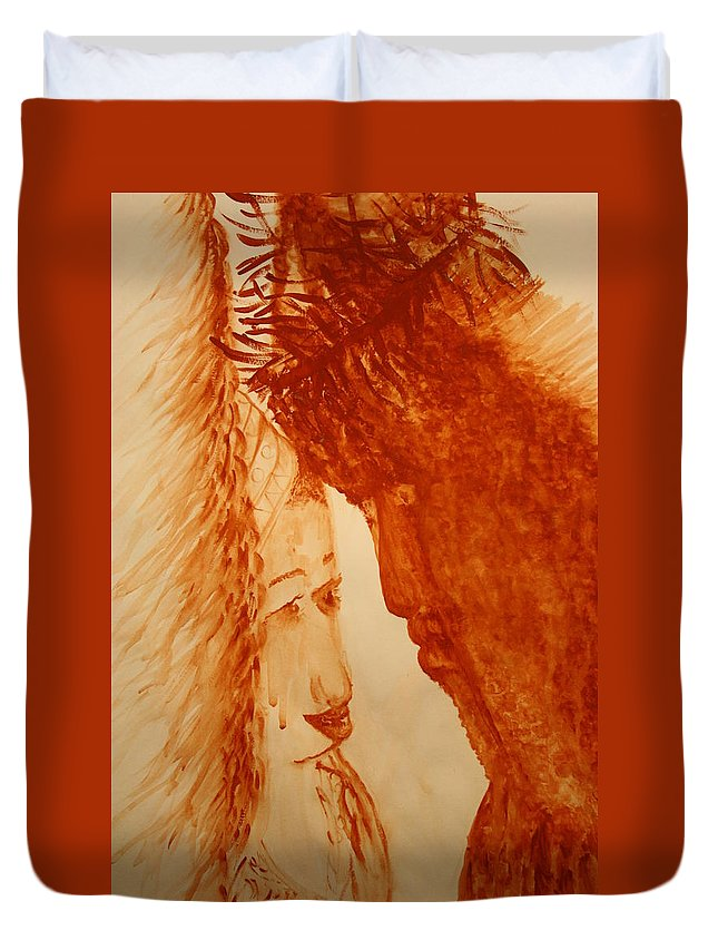 Jesus Duvet Cover featuring the painting Jesus Meets Mother Mary On The Road To Calvary by Gloria Ssali