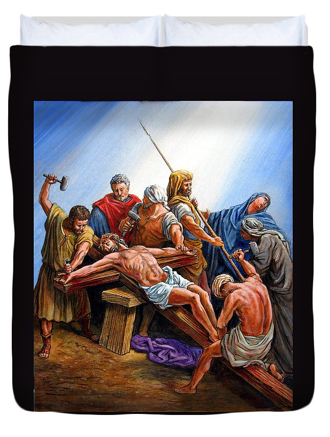 Jesus Duvet Cover featuring the painting Jesus Nailed To The Cross by John Lautermilch