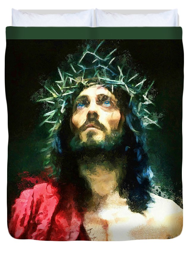 Jesus Duvet Cover featuring the painting Jesus Of Nazareth by Tina LeCour