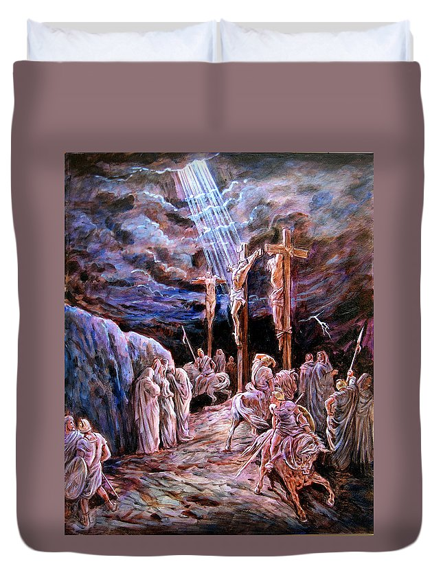 Jesus Duvet Cover featuring the painting Jesus On The Cross by John Lautermilch