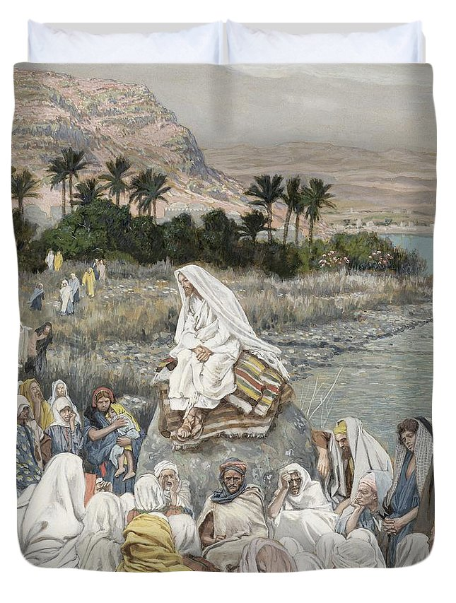 Sermon Duvet Cover featuring the painting Jesus Preaching By The Seashore by Tissot