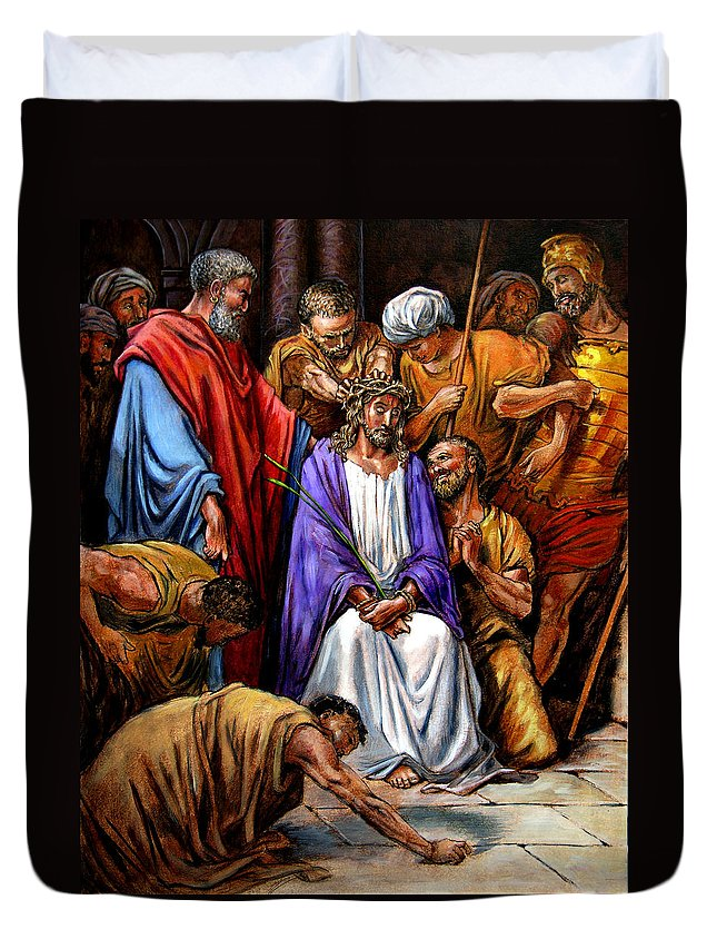 Jesus Duvet Cover featuring the painting Jesus Tormented by John Lautermilch