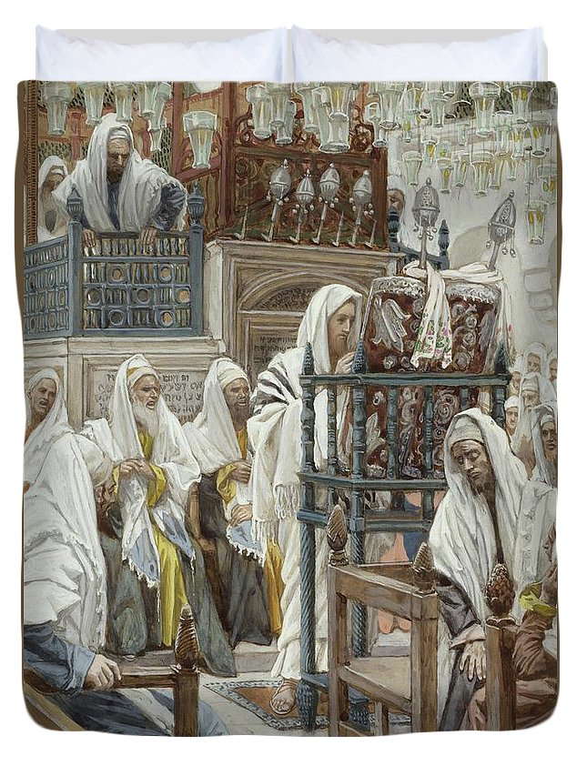 Jesus Duvet Cover featuring the painting Jesus Unrolls The Book In The Synagogue by Tissot