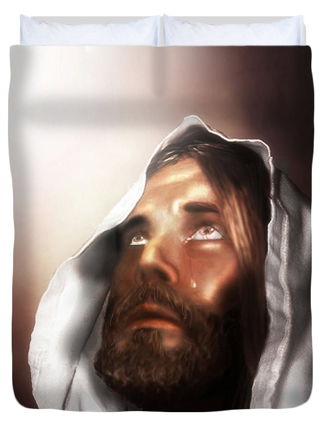 Jesus Duvet Cover featuring the mixed media Jesus Wept by Mark Spears
