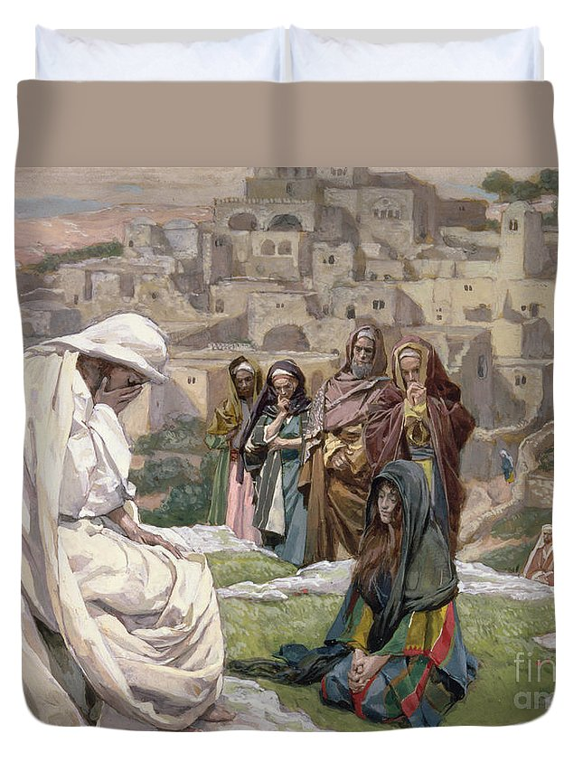 Jesus Duvet Cover featuring the painting Jesus Wept by Tissot