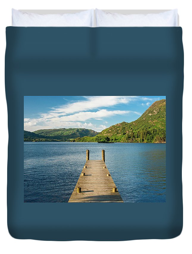 Pier Duvet Cover featuring the photograph Jetty by Julian Regan