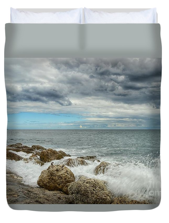 Landscape Duvet Cover featuring the photograph Jetty Rocks 4 by Glenn Forman
